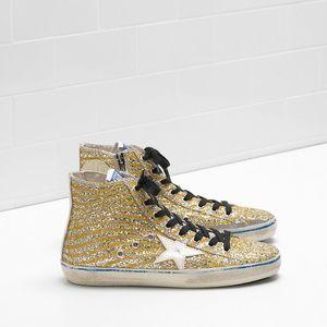 Golden Goose Francy Yellow Glitter Sneakers